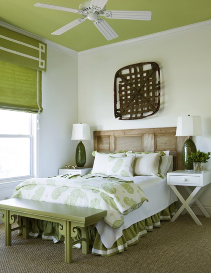 green bedroom ceiling