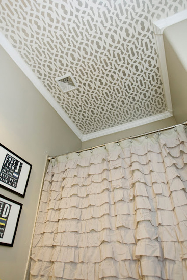 stenciled bathroom ceiling