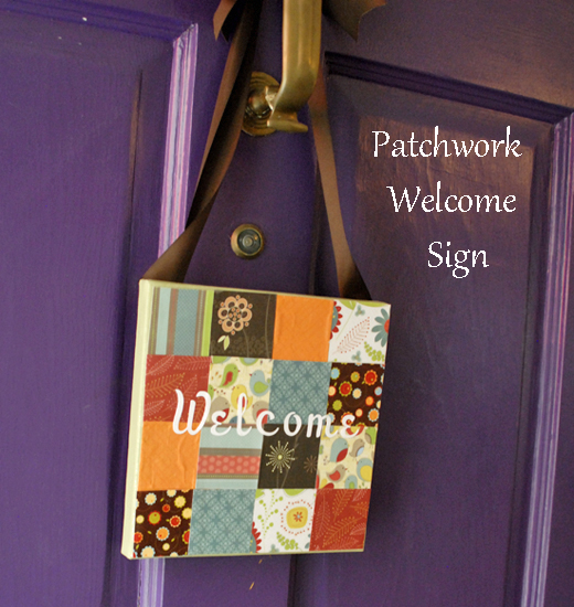 patchwork welcome sign
