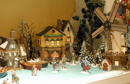 Christmas village skating