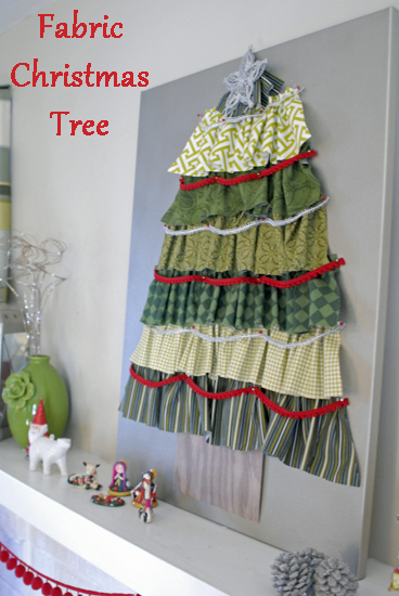 Fabric Christmas Tree on a mantel