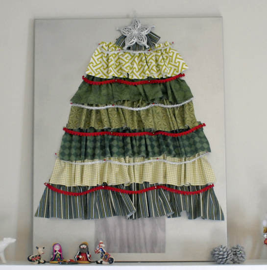 fabric Christmas tree on mantel