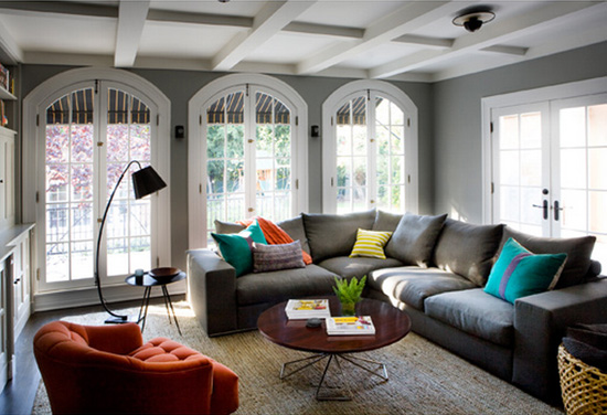 gray and color living room