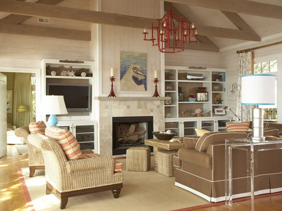 neutral & color living room