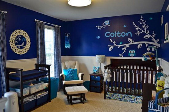navy owl nursery
