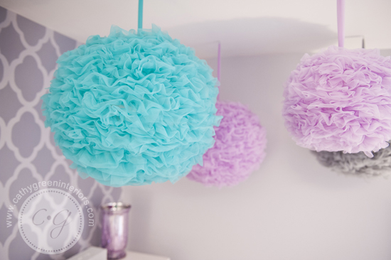 purple gray & blue pom poms