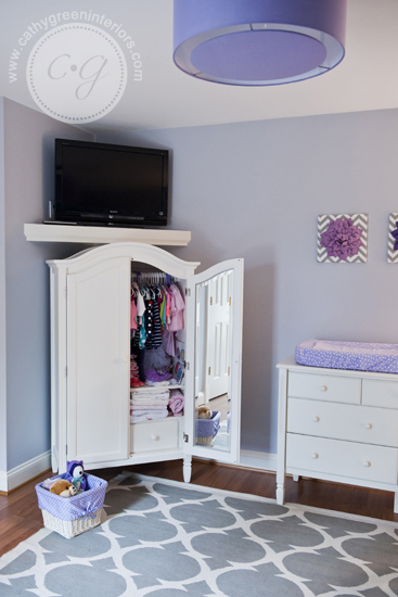 purple & gray nursery armoire