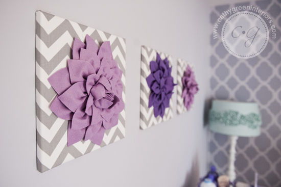 purple & gray nursery artwork