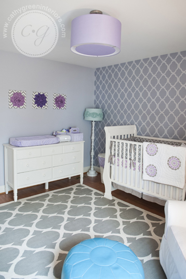 purple & gray nursery changing table