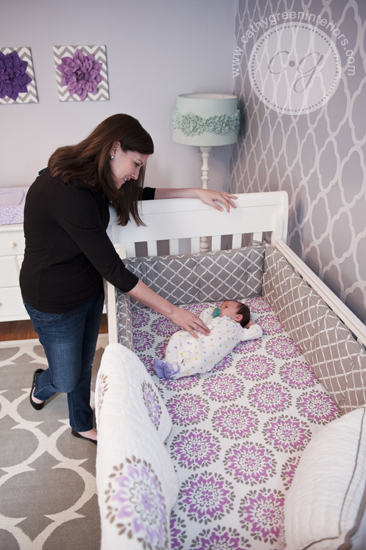 purple & gray nursery crib