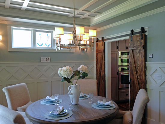 barn doors in dining room