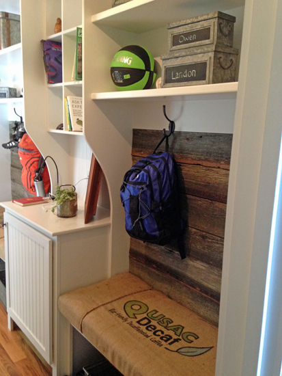 reclaimed wood cubby
