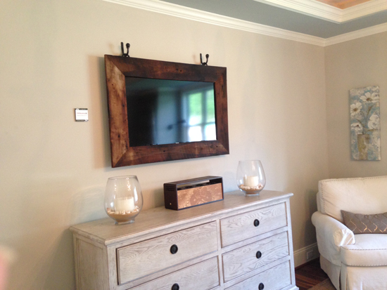 wood framed TV