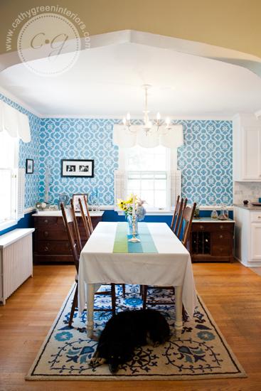 blue stenciled dining room