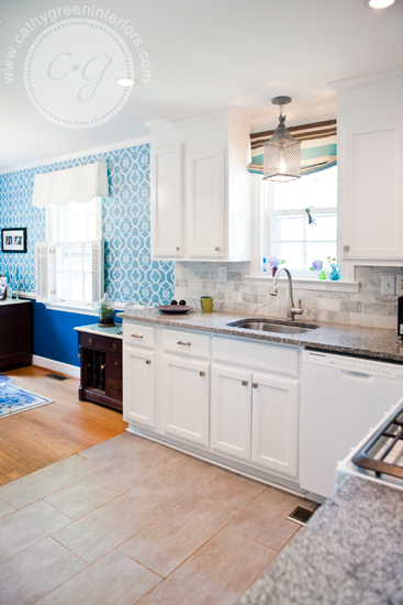white kitchen into dining room