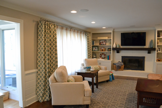 aqua and tan family room