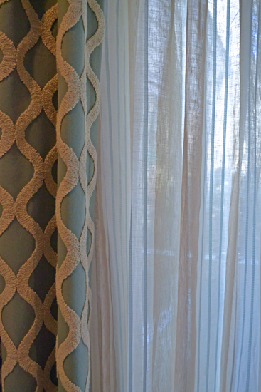 aqua window panel and sheer
