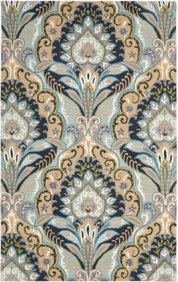 blue damask rug