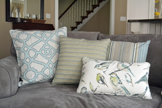 blue & gray pillows