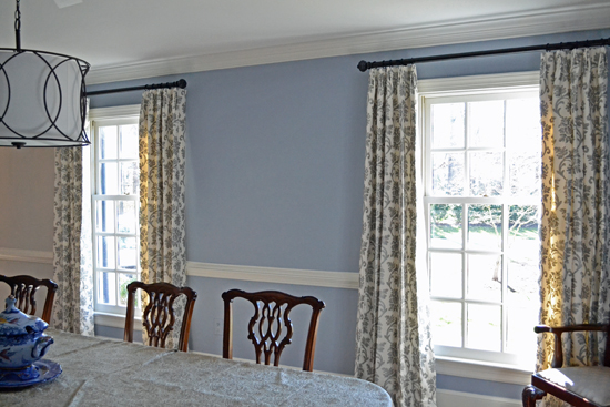 gray floral dining room window panels