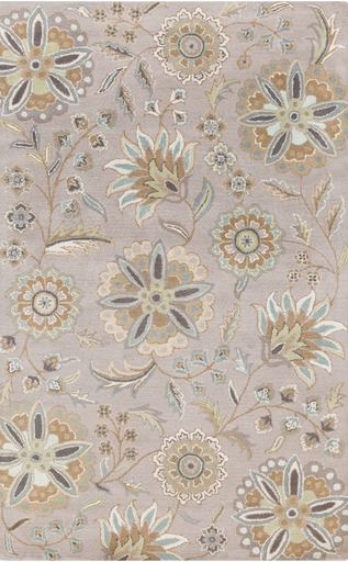 neutral and blue floral rug