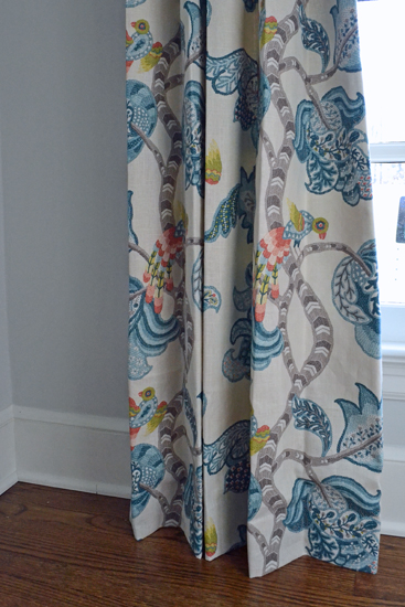 teal bird fabric window panel