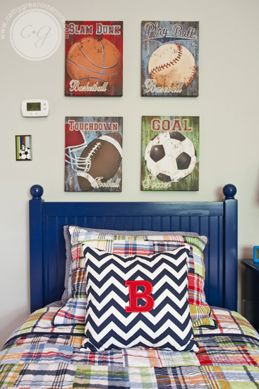 navy and red bedding