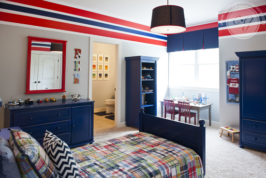 navy and red boys bedroom