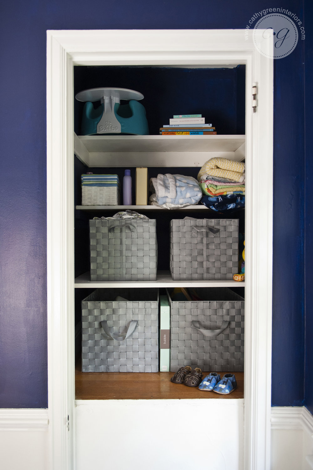 Navy and green nursery closet - Richmond, VA