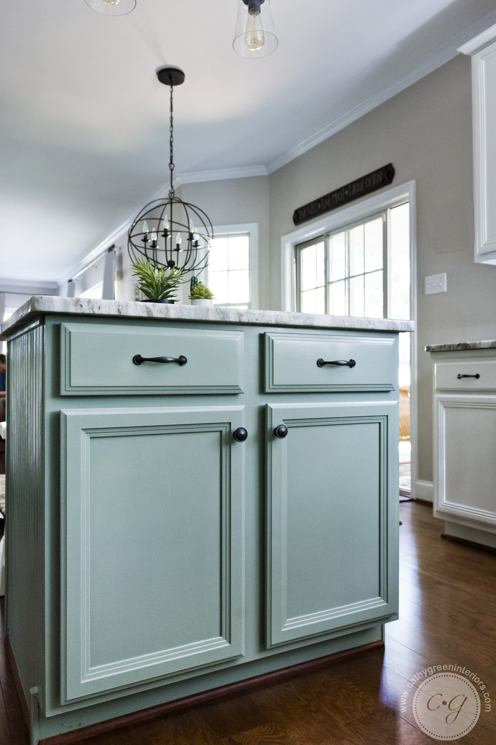 Green kitchen island, Transitional kitchen, Chesterfield, VA
