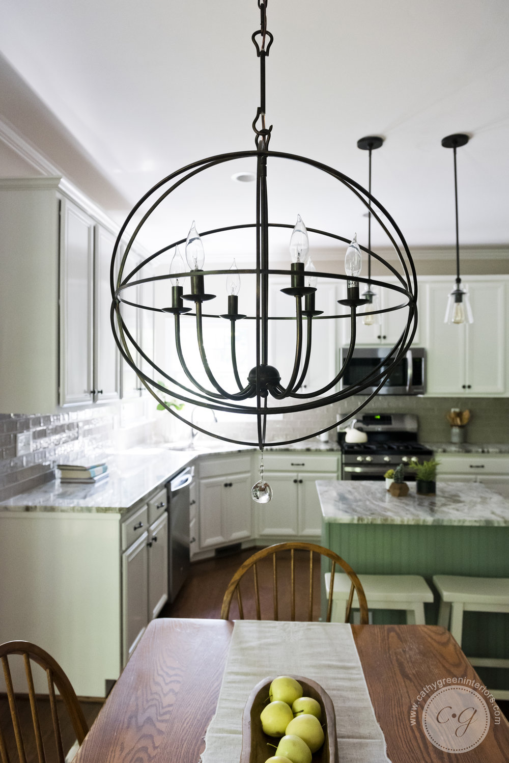 Orb light fixture, Transitional kitchen, Chesterfield, VA