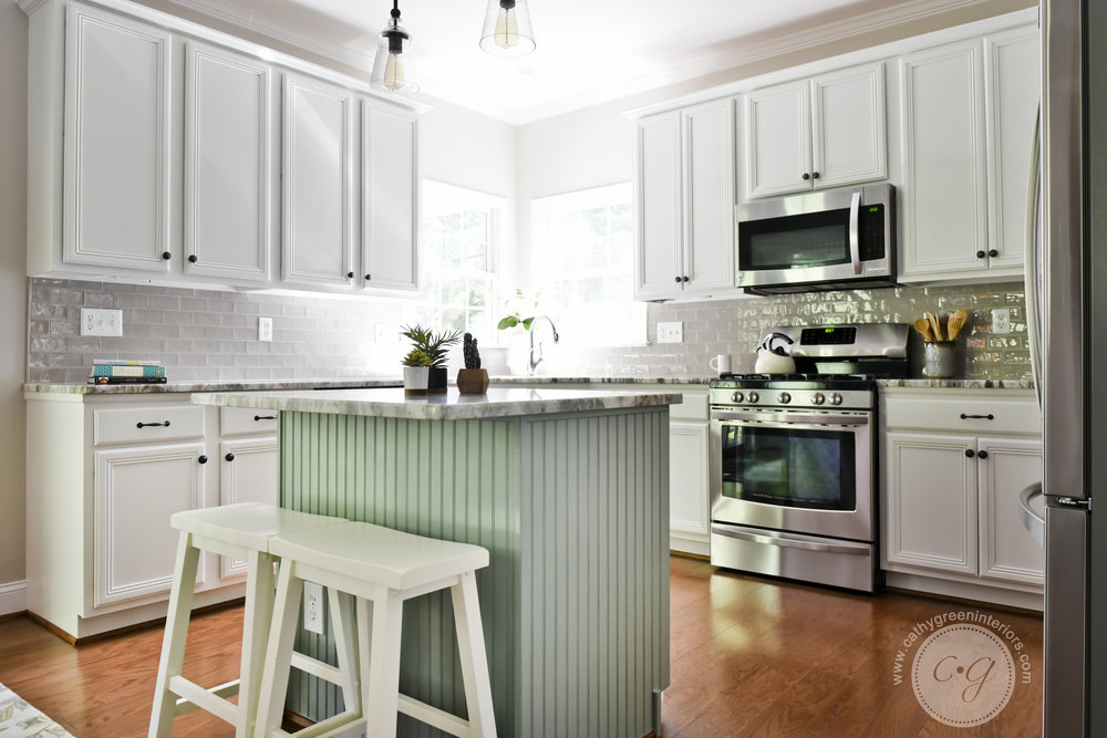 Green kitchen island,Transitional kitchen, Chesterfield, VA