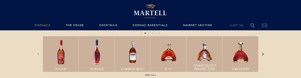 Martell's Products SubMenu