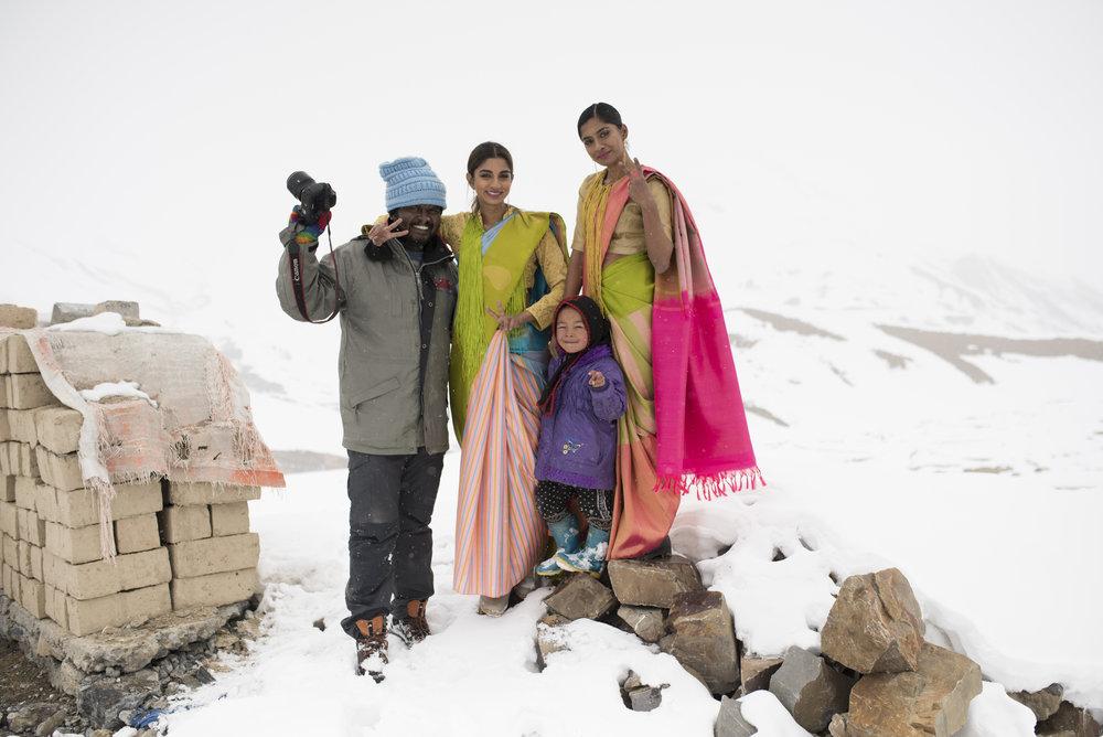 Photographer Bhagath Kumar (Makka) with Sahithya and Anusha