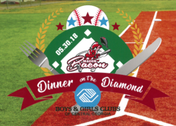 Saturday May 11, 2019 Luther Williams Baseball Park  6:00 VIP Reception 6:30 Dinner 7:30 The Grapevine  A partnership fundraiser between Macon Bacon Baseball Team and the Boys & Girls Clubs of Central Georgia.A Steak & Burgers Bacon themed dinner will be served on the infield of historic Luther Williams Ball Park.  VIP Guests will be seated on the infield have an opportunity to bid on items in a Silent Auction and win a Diamond Necklace.  Musical lineup to be announced, but it will be GREAT!  More details coming soon!