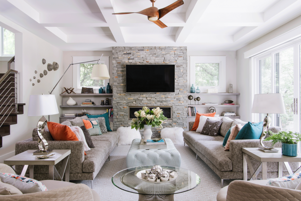 Modern Family Room Design By Suzanne Manlove Of Arlington Home Interiors.