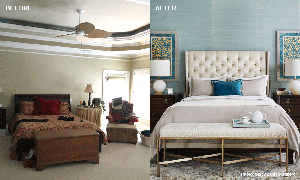 Teal blue and taupe master bedroom design by Suzanne Manlove of Arlington Home Interiors.