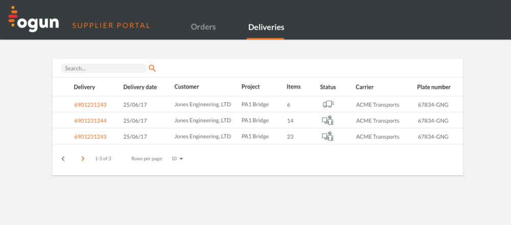 Provide DeliveryInformation - Our delivery list view lets you share delivery information directly into your customers project planning.