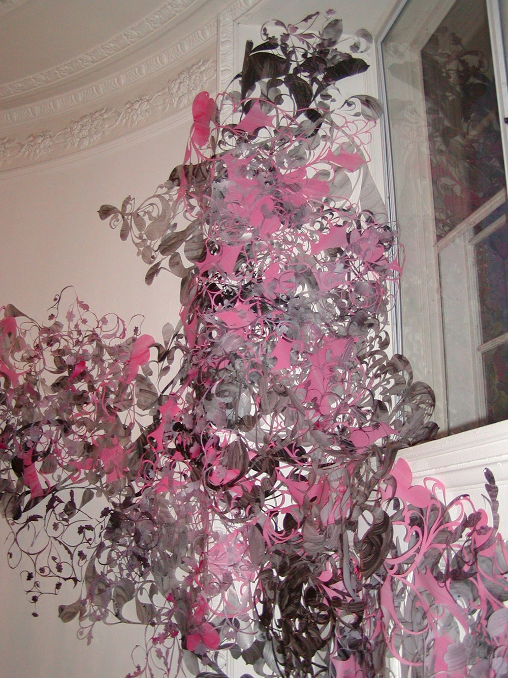 Out of the Woodwork,  dimensions variable, acrylic on cut vellum, Evanston Art Museum Biennial, 2006.