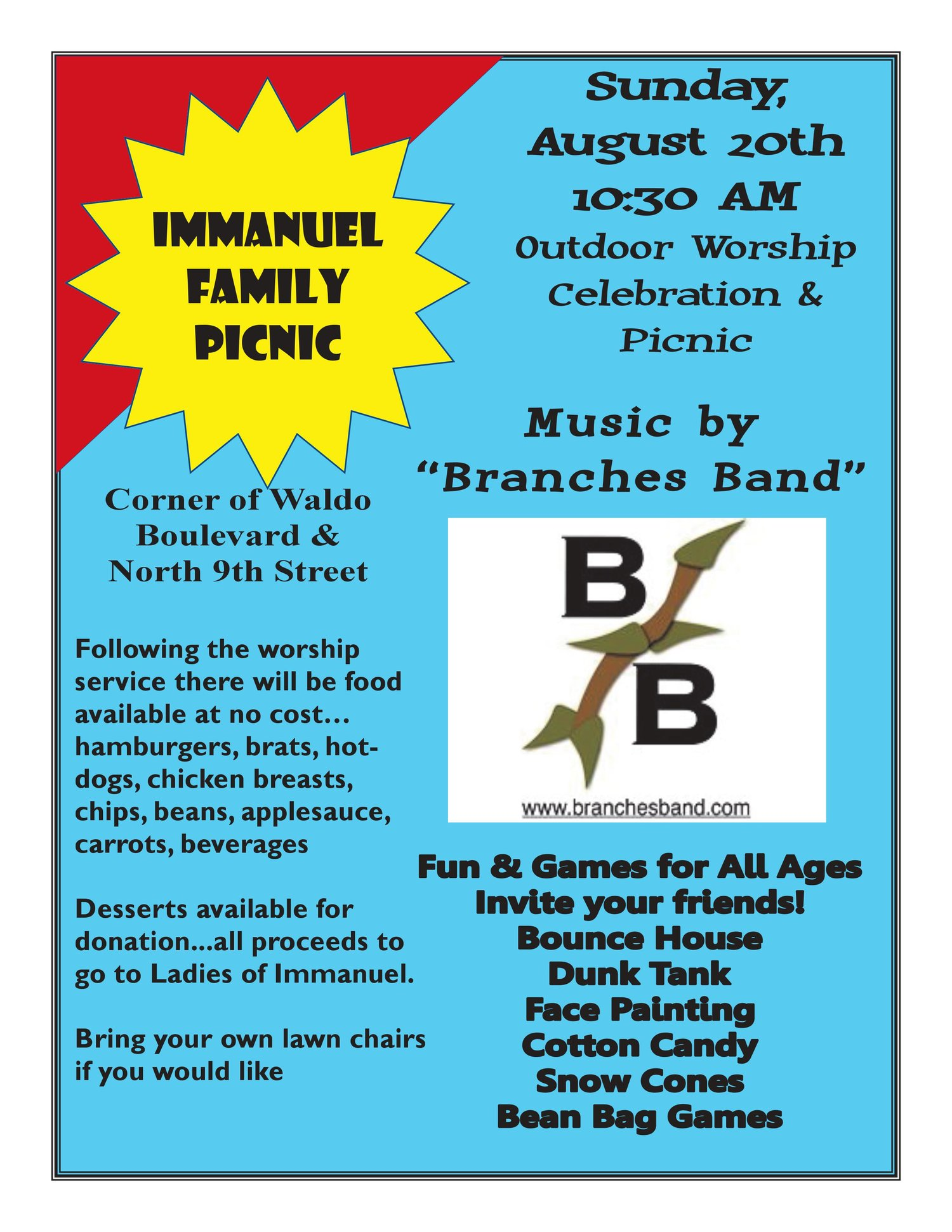family picnic and back to school event immanuel lutheran