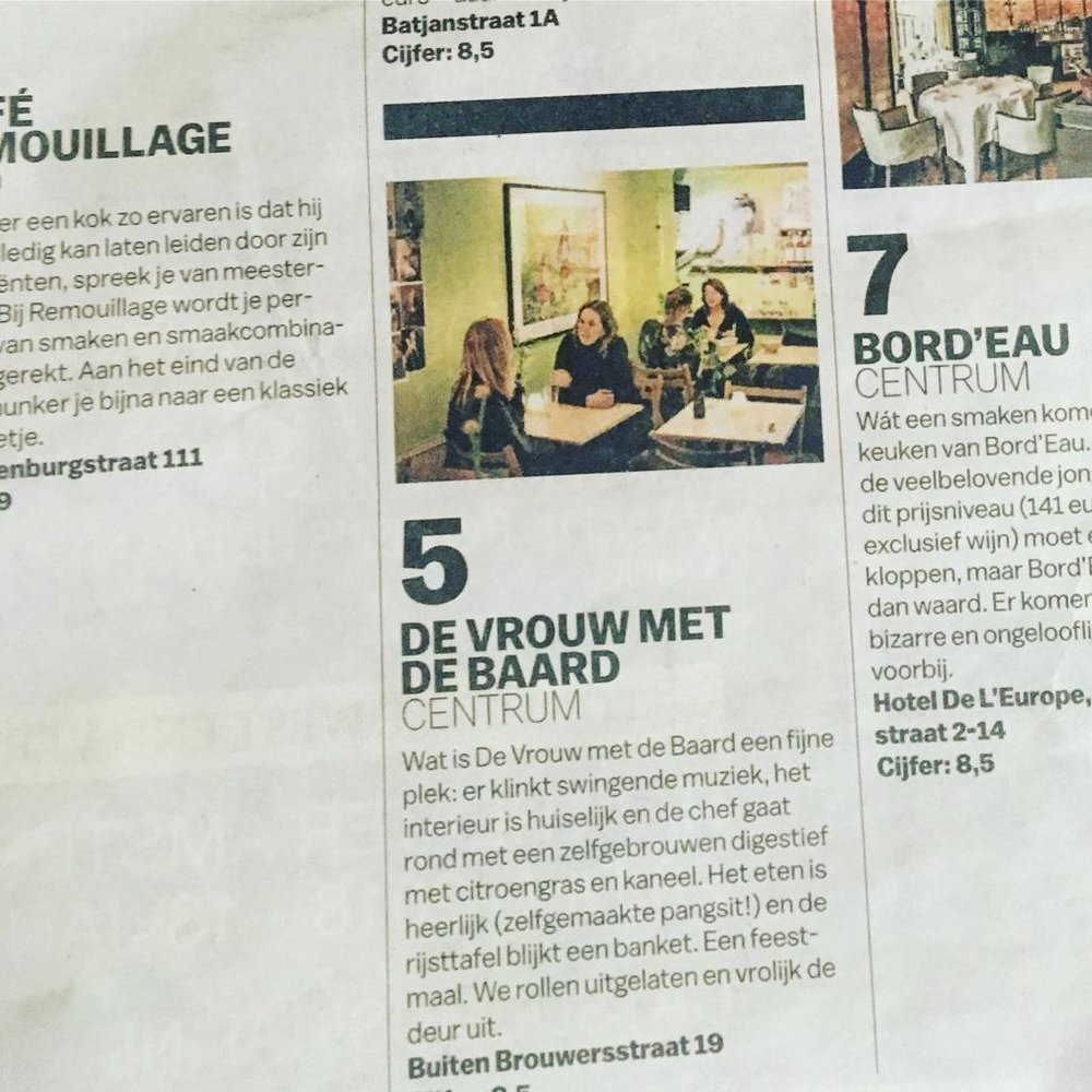 """Volkskrant Proefwerk - We ended up as the 5th best restaurant in Amsterdam according to """"Proefwerk"""" in the Dutch newspaper De Volkskrant. We are still so proud of our 8,5 out of 10."""
