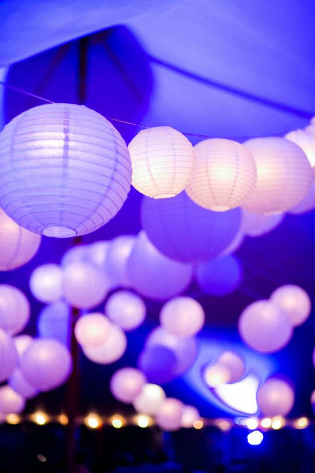 Malloy Weddings | New England wedding lighting | Blue LED lighting with full paper lantern wedding lighting installation, ViewPoint Hotel, York Maine
