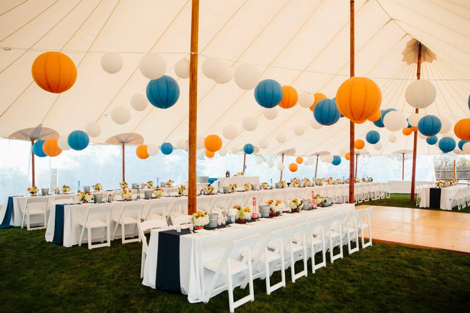 Malloy Weddings | New England wedding lighting | Blue and orange paper lantern wedding lighting installation at ViewPoint Hotel, York Maine