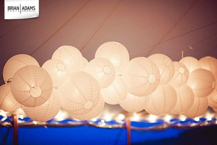 Malloy Weddings | New England wedding lighting | Custom cloud chandeliers, paper lanterns, private residence Falmouth Maine