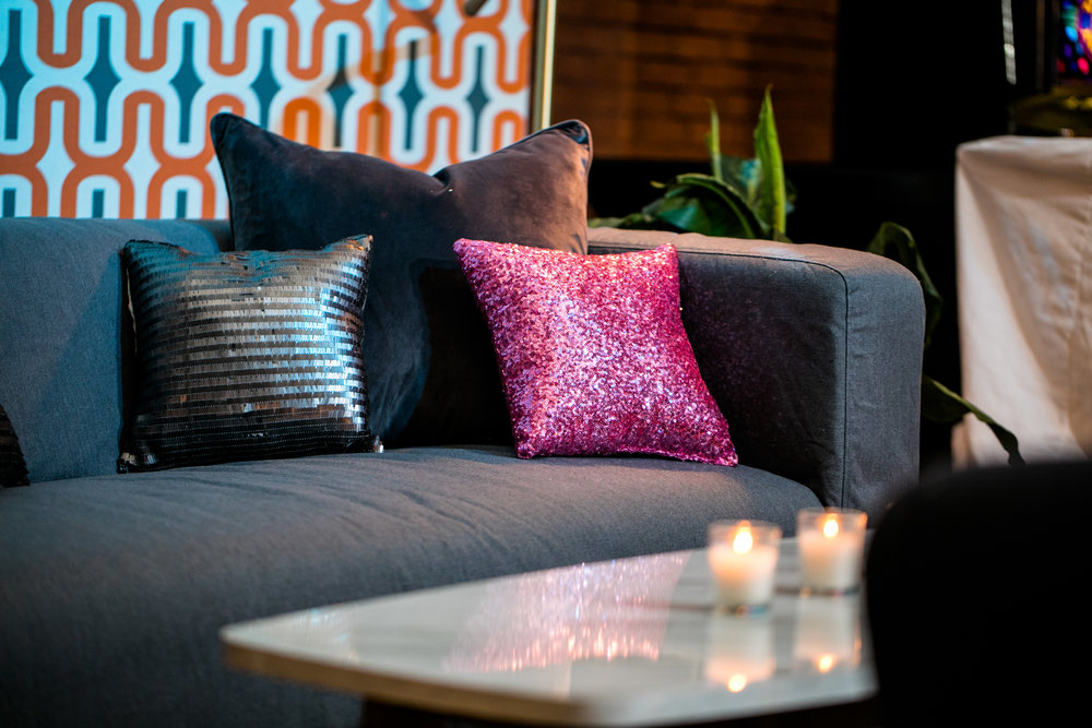 Grey cotton couches and side table lounge furniture rentals
