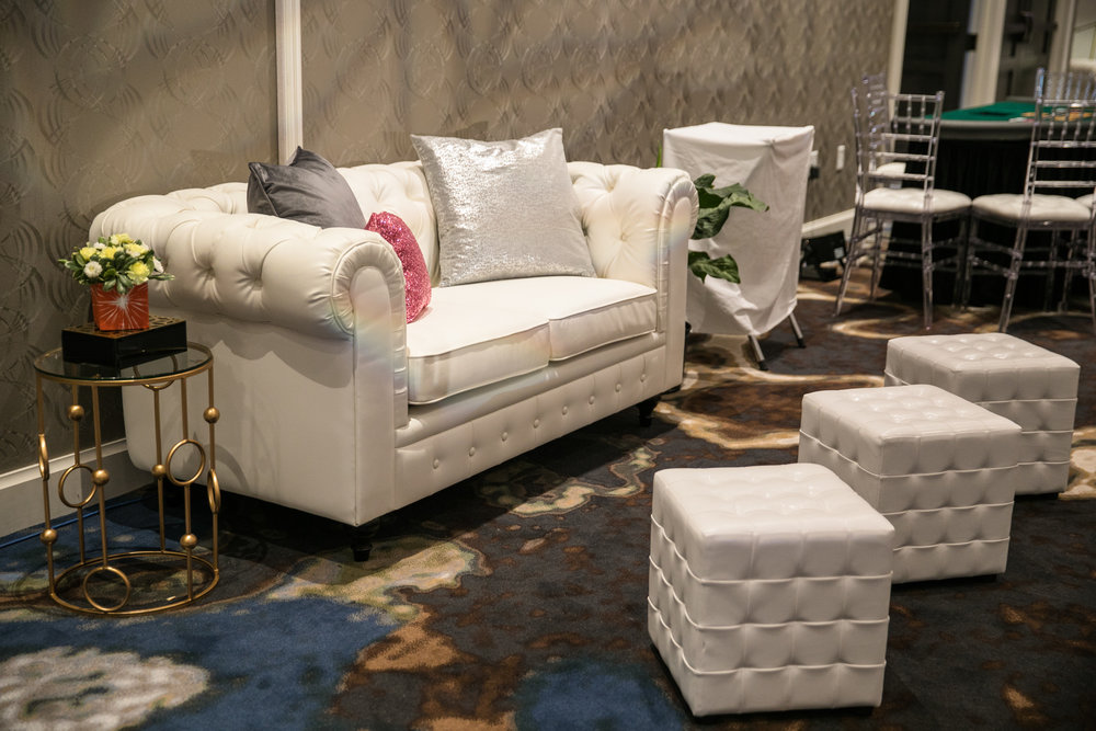 Malloy Weddings | New England wedding furniture rentals | White tufted leather lounge furniture rentals