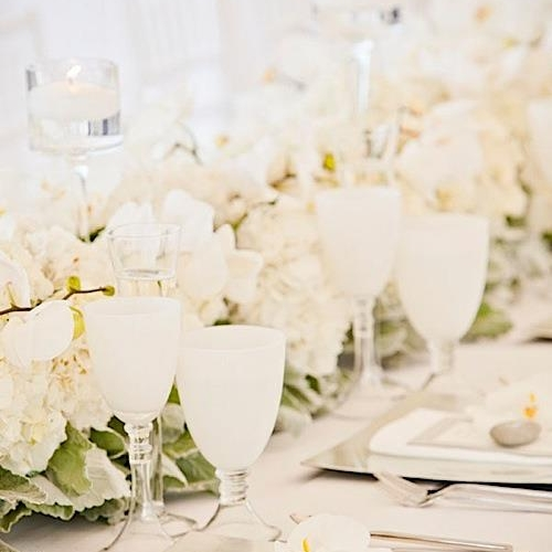 All white modern reception table