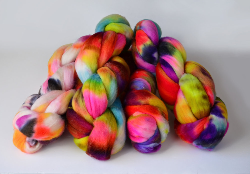 hand dyed organic polwarth top 222 Handspun