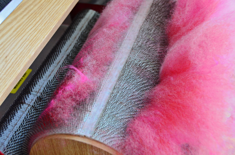 Art Batt Coming off the Drum Carder