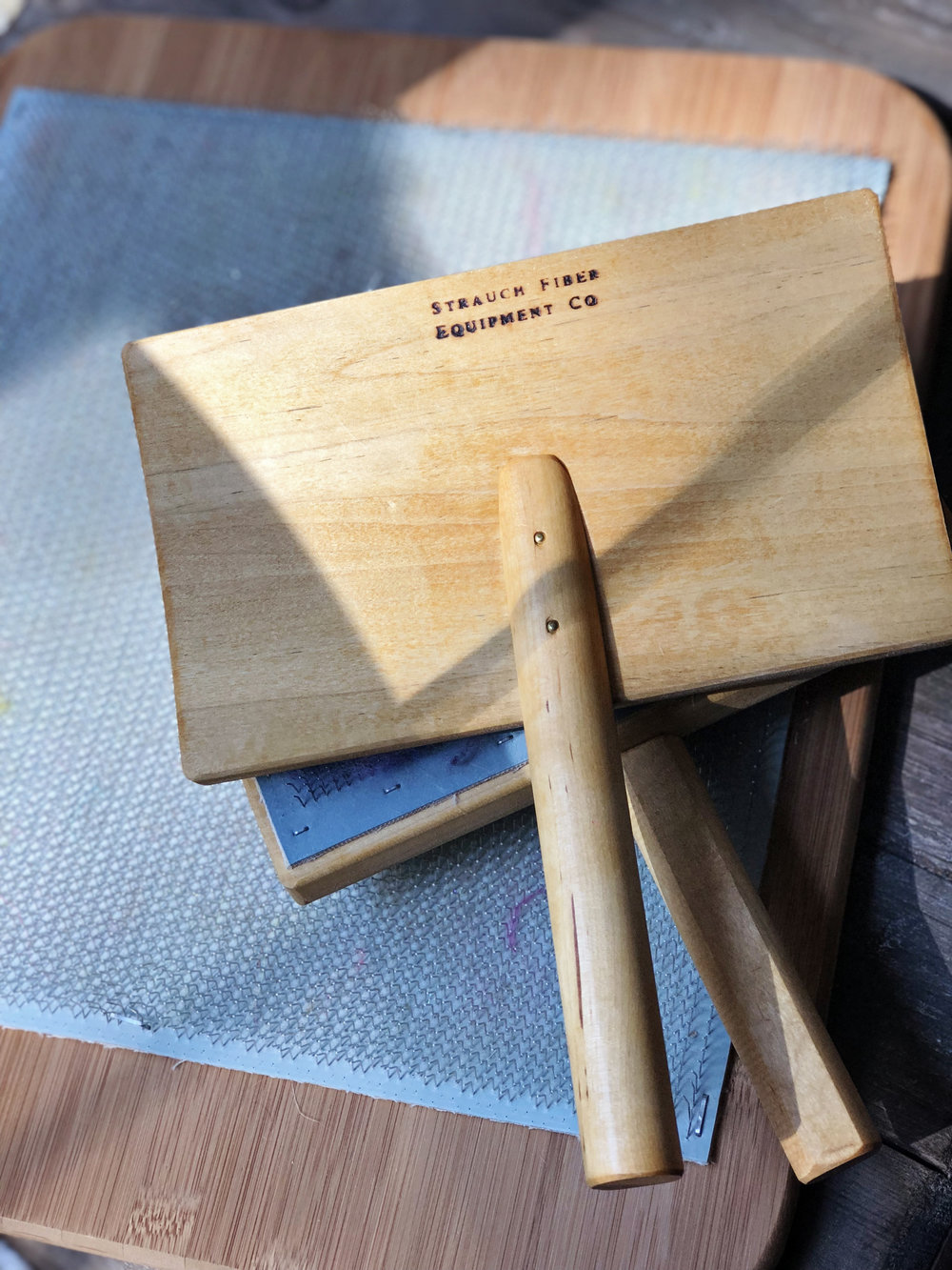 Strauch hand carders and Handmade Blending Board